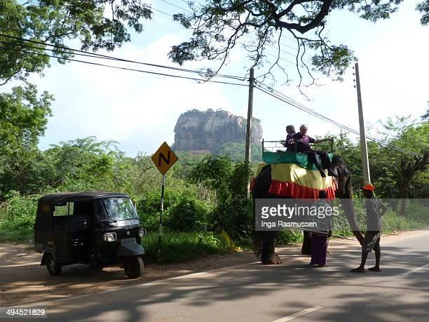 CONTENT] Tourists enjoying an elephant ride on the way to the Sigiriya Rock fortress Sri Lanka A tuk tuk is seen on the side Sigiriya in the...