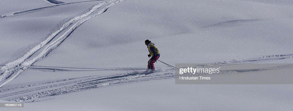 Tourists enjoying at winter sports at Ski resort of Gulmarg in North Kashmir on February 7, 2013 some 50 km from Srinagar, India.
