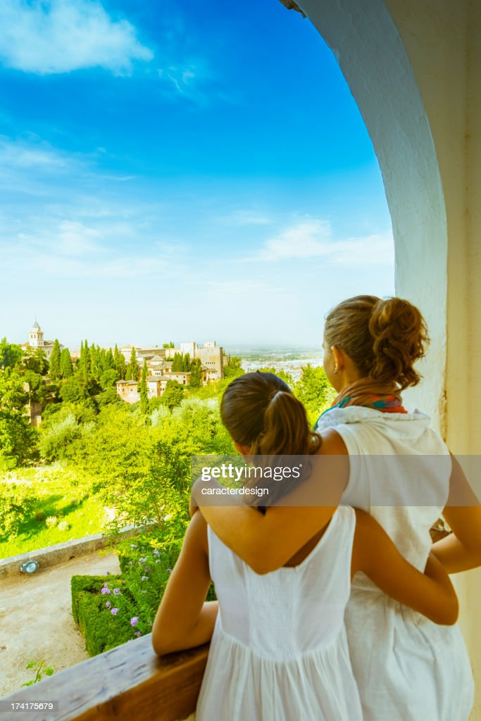 Tourists enjoying views from the Alhambra, Spain