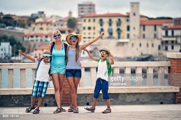 Tourists family sightseeing italian city of Piombino