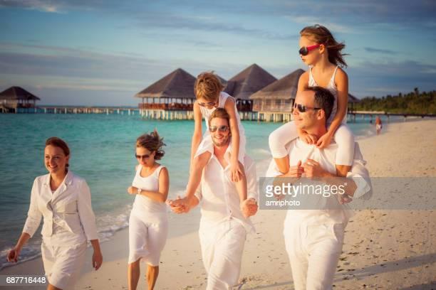 tourists friends white beach island