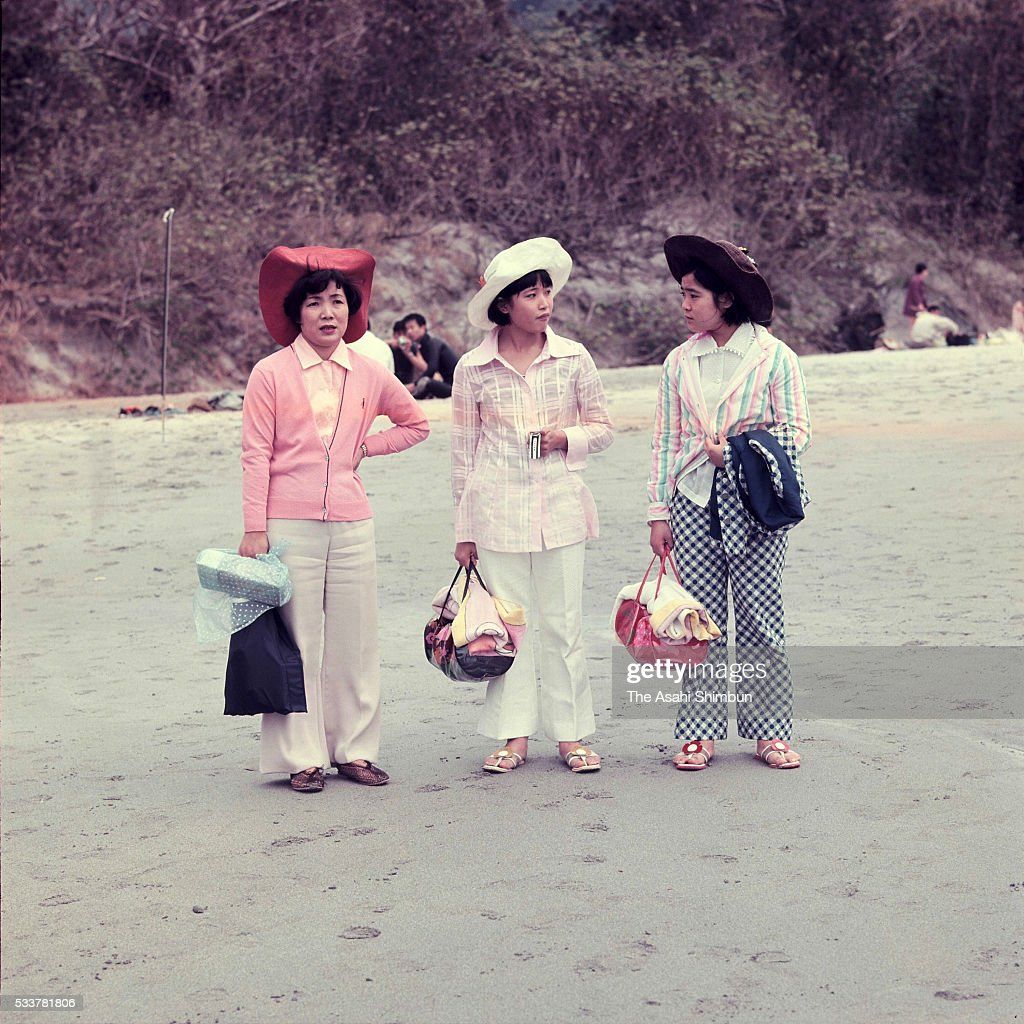 Tourists from mainland are seen at a beach at Chichijima Island on April 24 1970 in Ogasawara Tokyo Japan