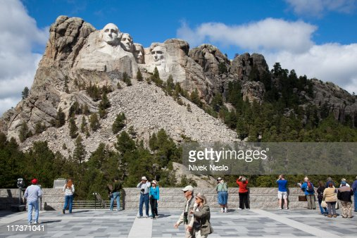 Tourists Gather at View of Mount Rushmore : Photo