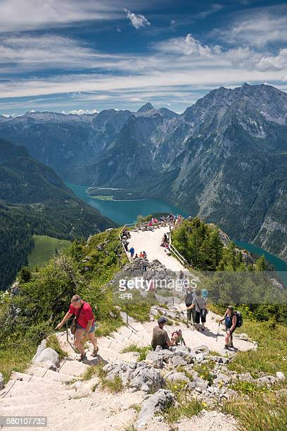 Tourists hiking to the Summit of Jenner, Königssee, Berchtesgaden, Germany
