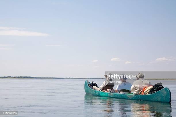 Tourists in a Canoe on the Zambezi River