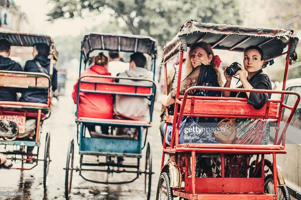 Tourists in a Rickshaw : Stock Photo