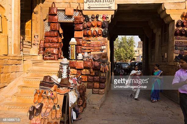 Tourists in a street market Jaisalmer Rajasthan India