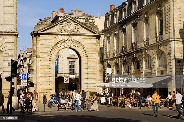 Tourists in a street, Porte Dijeaux, Vieux Bordeaux, Bordeaux, France
