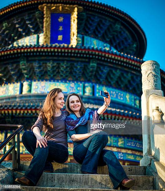 Tourists in Beijing visiting Temple of Heaven