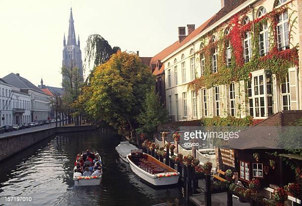 Tourists in boat, Bruges,Belgium