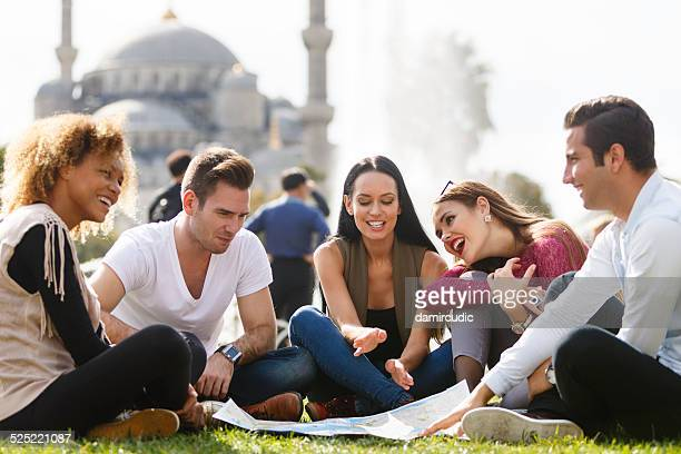 Tourists  in front of Blue Mosque in Istanbul
