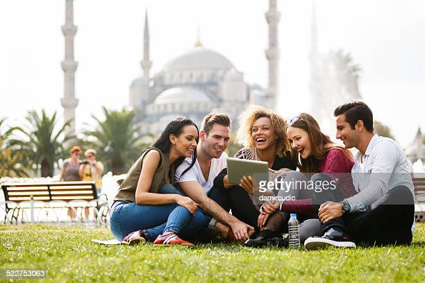 Tourists in front of Blue mosque in Istanbul, Turkey