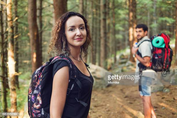 Tourists in the forest