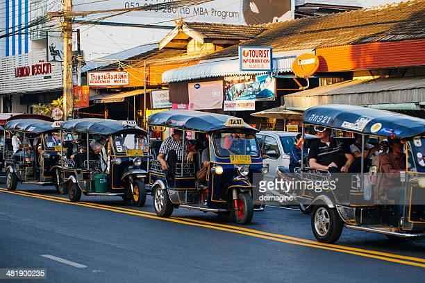 Tourists in tuk-tuk,  Chiang mai, Thailand