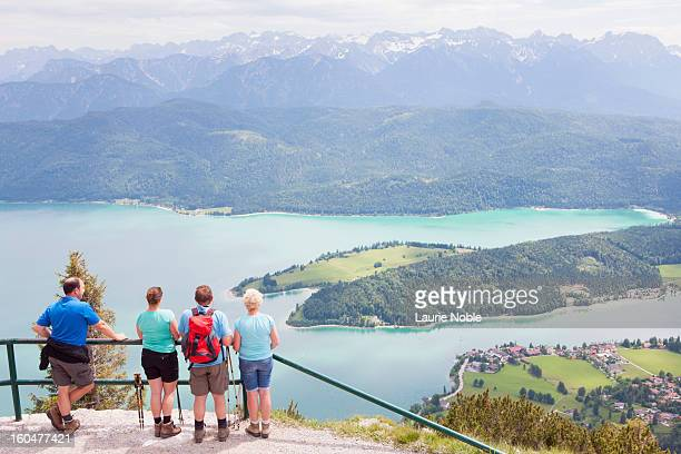 Tourists looking at the Alps and Walchensee