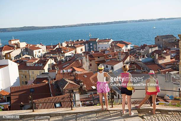 Tourists looking at view, Piran, Slovenia