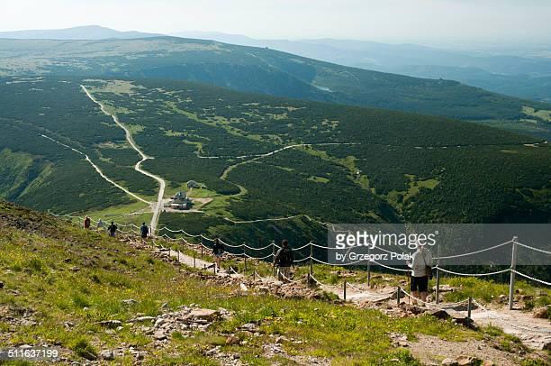 Tourists on a mountain trail