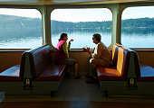 Tourists on ferry from Anacortes to San Juan Island, Washington State, USA