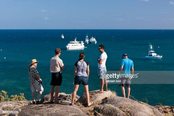 Tourists on Lizard Island Great Barrier Reef Australia