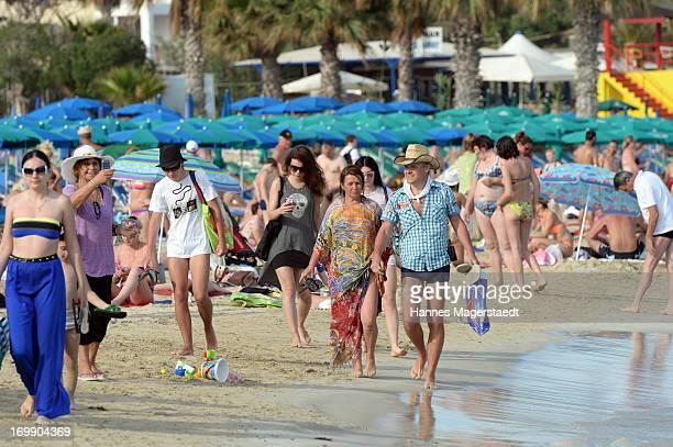Tourists on the beach of Ayia Napa on May 22 2013 in Ayia Napya Cyprus