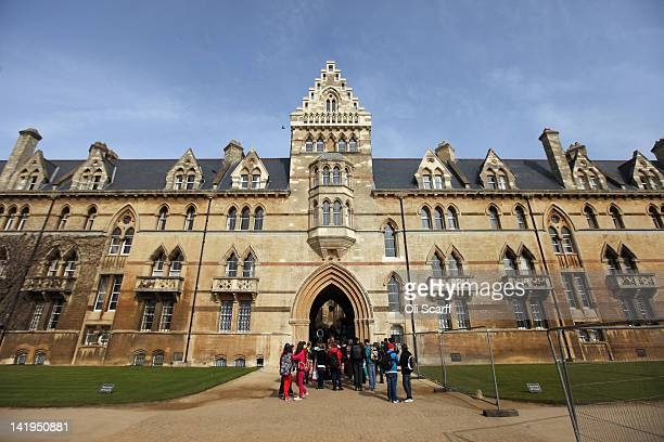 Tourists on The Broad Walk in front of Christ Church College on March 22 2012 in Oxford England