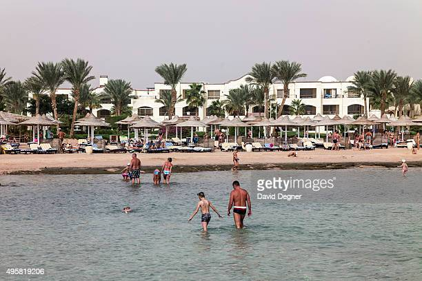 Tourists play in the water at the Regency Plaza resort on November 05 2015 in Sharm ElSheikh EgyptBritish flights going to and from Egyptian resort...
