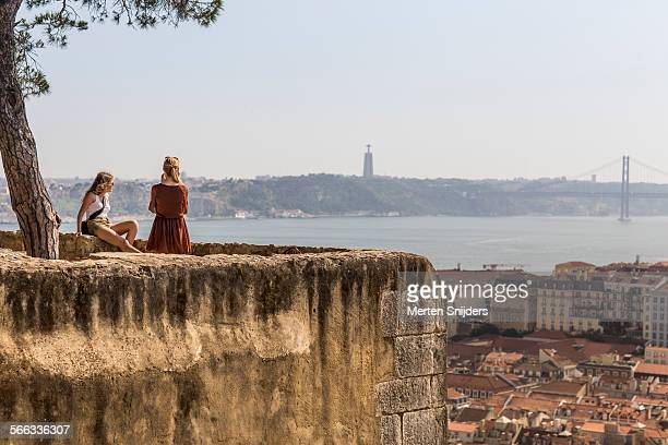 Tourists posing at Lisbon viewing point