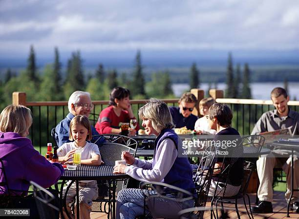 Tourists relaxing at Talkeetna Lodge, Alaska