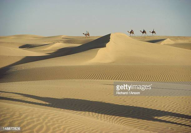 Tourists riding camels in Great Thar Desert.