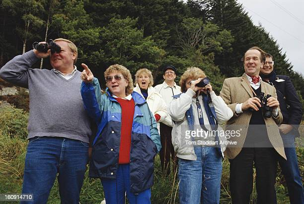 Tourists searching for the fabled Loch Ness Monster by Loch Ness in the Scottish Highlands 1993