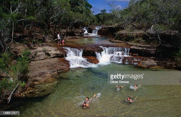 Tourists swimming at Twin Falls.