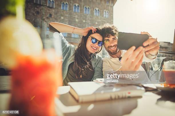 Tourists  take a selfie in Firenze