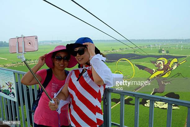 Tourists take selfies with a 3D image of Monkey King on the field at a creative agriculture park in Shenbei New Area on July 10 2016 in Shenyang...