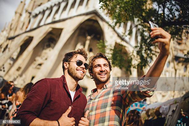 Tourists Taking a Selfie in Barcelona