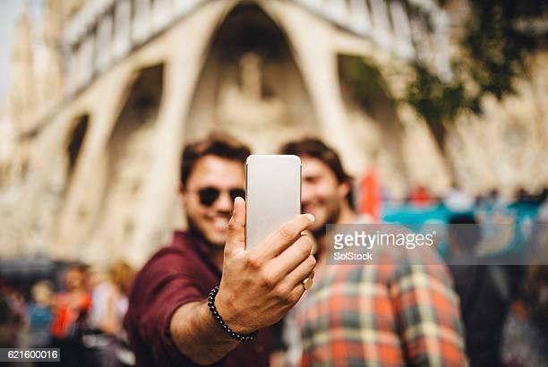 Tourists Taking a Selfie in Barcelona