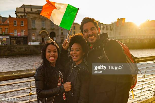 Tourists Taking Selfies on Vacation in Dublin Ireland