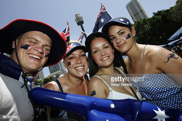 Tourists Tony Humwick Stacey Smith Natalie Loughton and Emma Loughton celebrates Australia Day at the Backyard BBQ at Hyde Park on January 26 2010 in...