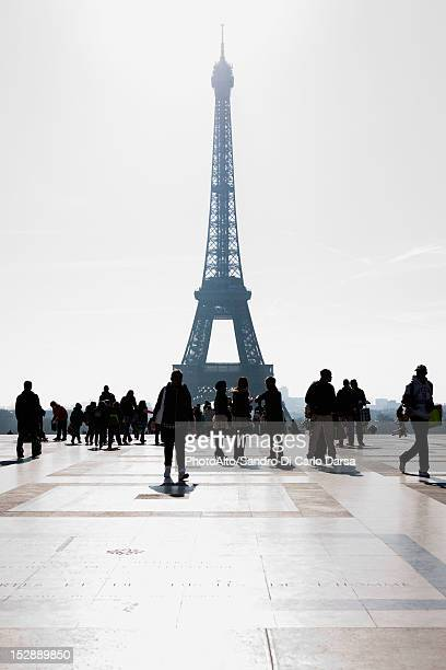 Tourists view Eiffel Tower from Palais de Chaillot, Paris, France