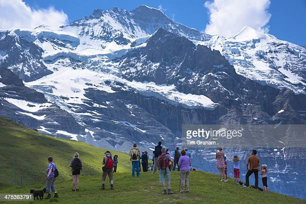 Tourists viewing the Jungfrau mountain peak in the Swiss Alps in Bernese Oberland Switzerland