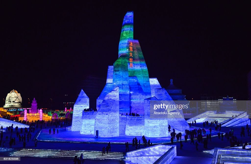 Tourists visit an illuminated ice castle during the 33rd Harbin International Ice and Snow Festival at Harbin Ice And Snow World in Harbin, China on January 16, 2017. The Festival, established in 1985, is held annually on January 5 and lasts over a month.
