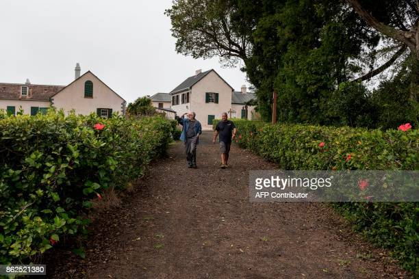 Tourists visit on October 17 2017 the last residence of Napoleon in exile at Longwood on the British Overseas Territory of Saint Helena / AFP PHOTO /...
