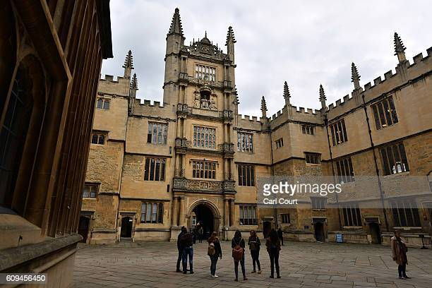 Tourists visit the Bodleian Library on September 20 2016 in Oxford England Oxford University has taken number one position in the 20162017 world...