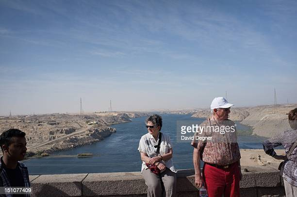 Tourists visit the high damn with Lake Nasr on one side and a river on the other March 15 2012 Abu Simbel is a one of the southern most villages in...