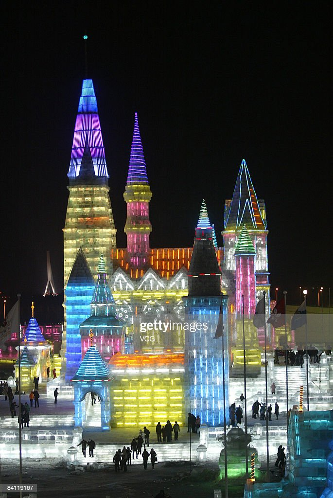 Tourists visit the Ice and Snow World during the annual Harbin International Ice and Snow Sculpture Festival on December 23, 2008 in Harbin, Northeast China's Heilongjiang province.