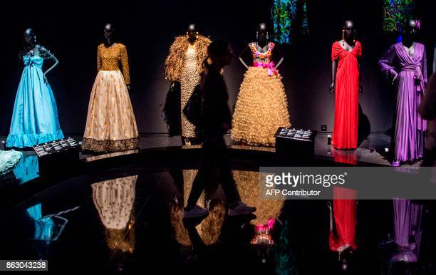 Tourists visit the new Yves Saint Laurent museum in the Moroccan city of Marrakesh on October 19 2017 A fusion of the Moroccan traditions and...