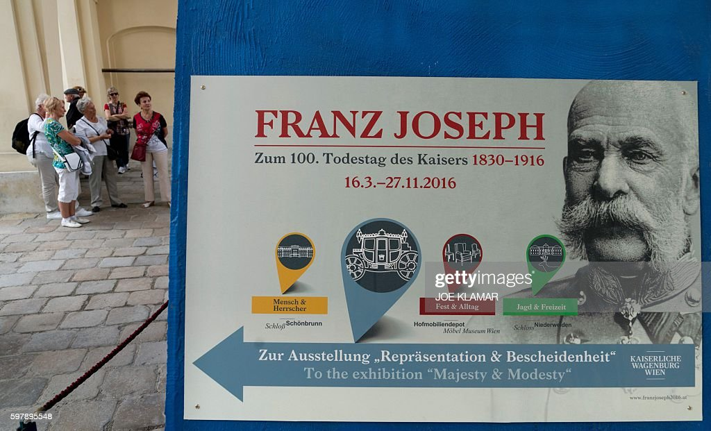 Tourists visit the Schoenbrunn palace in Vienna Austria on June 04 2016 Even a century after his death Austria's muttonchop whiskered emperor Franz...