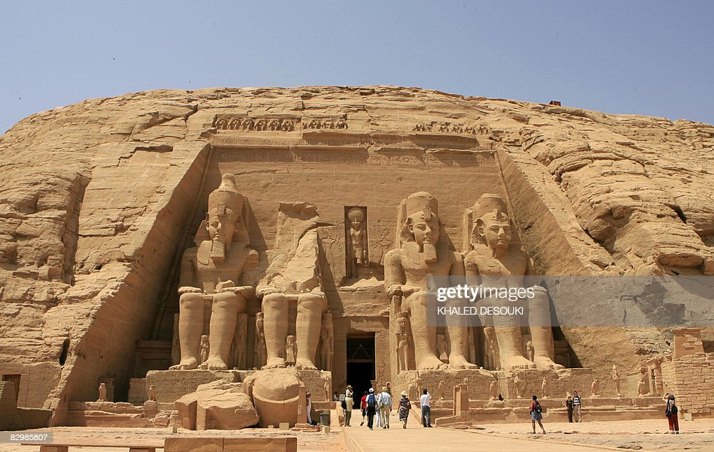 Tourists visit the temple of Abu Simbel south of Aswan 800 kilometres south of Cairo on September 24 2008 Sudanese forces were laying siege today to...