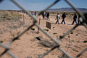 Tourists visit the Trinity Site which is where the US military first detonated the world's first atom bomb in July of 1945 located on the White Sands...