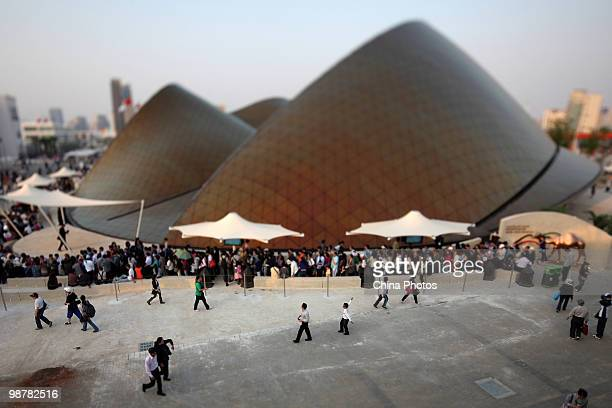 Tourists visit the United Arab Emirates Pavilion during the opening day of the 2010 Shanghai World Expo on May 1 2010 in Shanghai China As of 7 pm on...