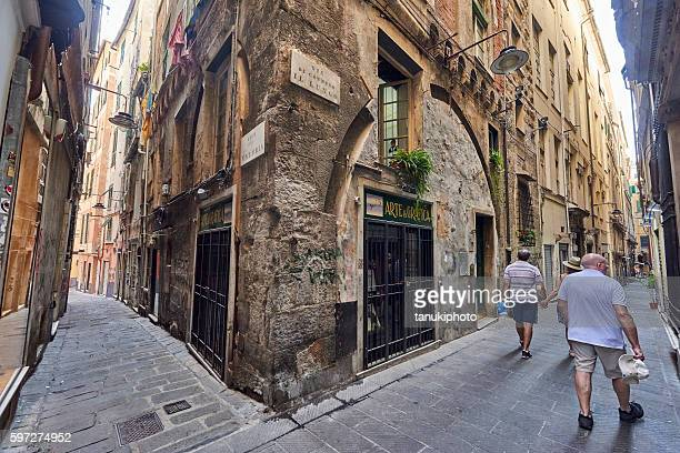 Tourists Visiting Genova Old Town